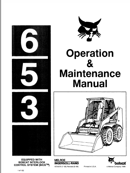 Bobcat 653 Skid-Steer Loader Service Manual