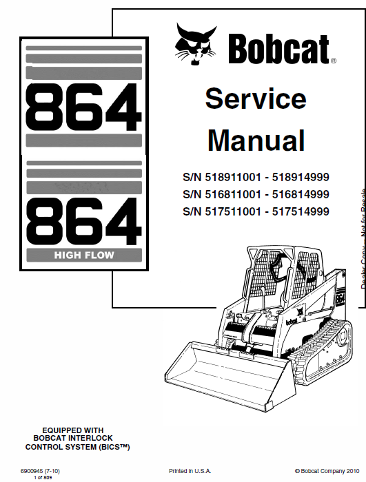 Bobcat 864 and 864H Skid-Steer Loader Manual