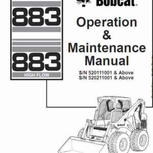 Bobcat 873 and 883 G-Series Skid-Steer Loader Service Manual