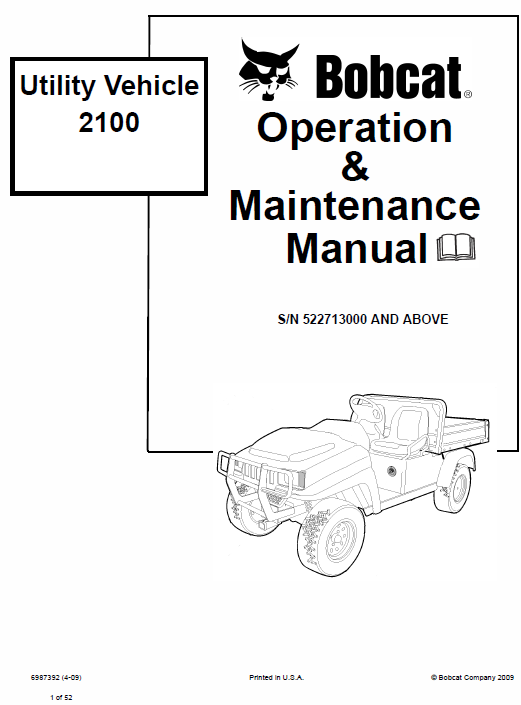 Bobcat 2100 and 2100s Utility Vehicle Service Manual
