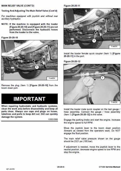 Bobcat CT120 Compact Tractor Service Manual