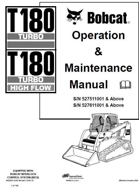 Bobcat T180 Turbo, T180 Turbo High Flow Loaders Service Manual