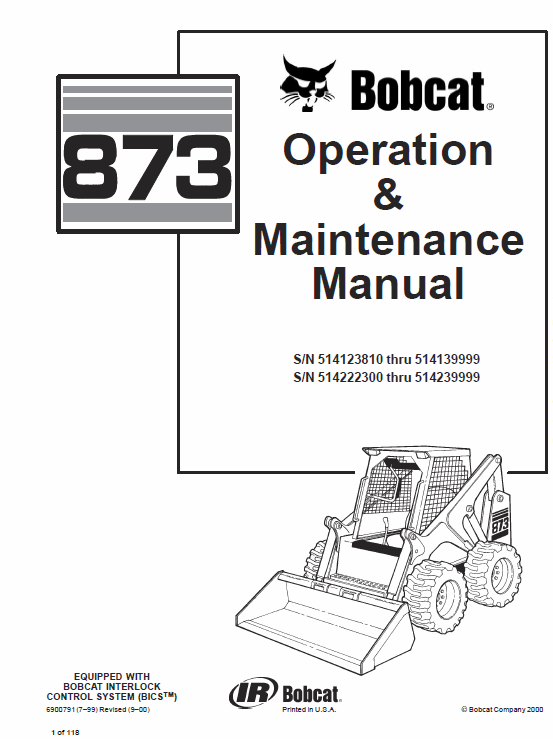 Bobcat 873 Skid-Steer Loader Service Manual