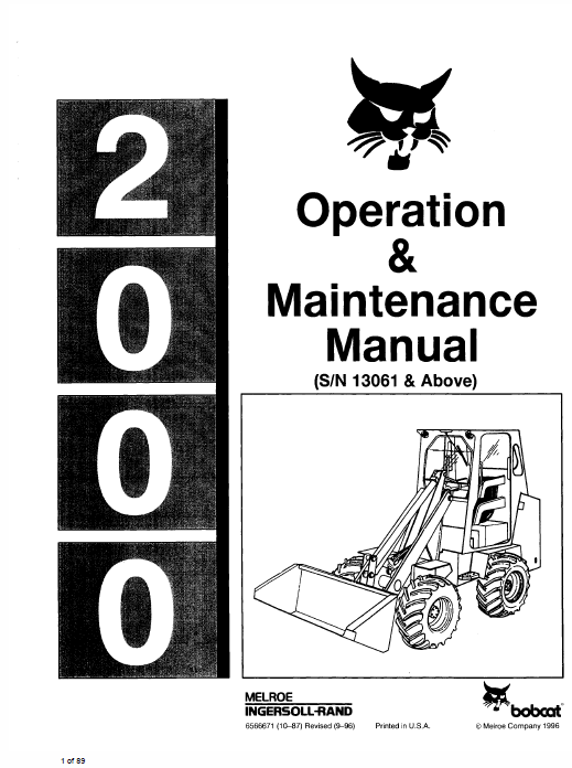 Bobcat 2000 Loader Service Manual
