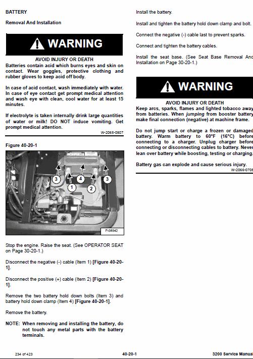 Bobcat 3200 Utility Vehicle Service Manual