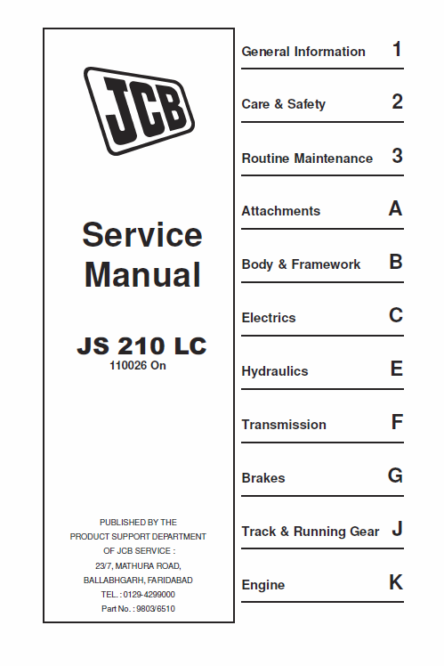 Jcb Js210 Lc Tracked Excavator Service Manual