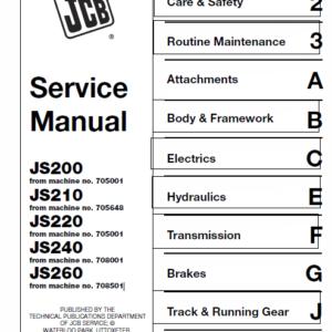 JCB JS200, JS210, JS220, JS220, JS240, JS260 Tracked Excavator Service Manual
