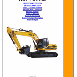 Jcb Js290 Tier 3 Auto Tracked Excavator Service Manual