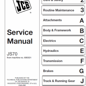 Jcb Js70 Tracked Excavator Service Manual
