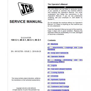 JCB 85Z-1, 86C-1, 90Z-1, 100C-1 Midi Excavator Service Manual