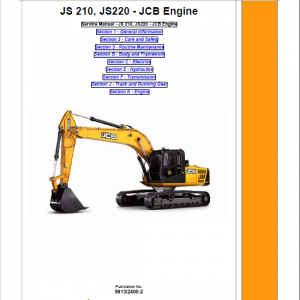 JCB JS210LC, JS220 Tracked Excavator Service Manual