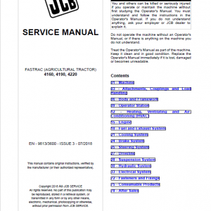 JCB Fastrac 4160, 4190, 4220 Tier 4 Service Manual