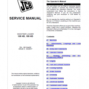 JCB 135 HD, 155 HD Skid Steer Loader Service Manual