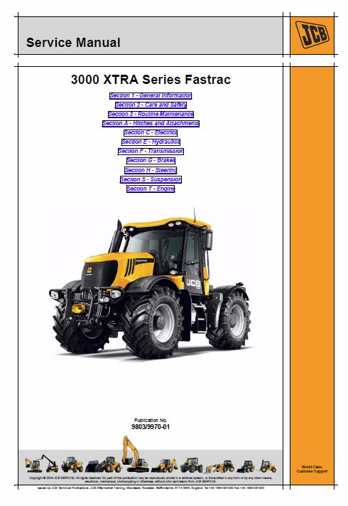JCB 3000 XTRA Series Fastrac Service Manual