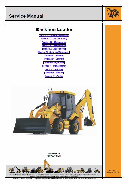 JCB 2CX, 2CXU, 210S, 210SU Backhoe Service Manual