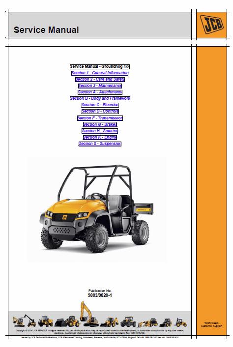 JCB Groundhog 4×4 Utility Vehicle Service Manual
