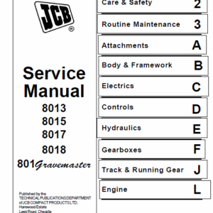 JCB 8013, 8015, 8017, 8018 Mini Excavator Service Manual