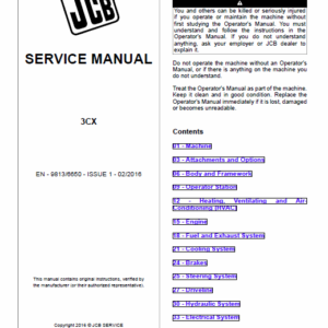 JCB 3CX Tier 2, Tier 3 Backhoe Loader Service Manual
