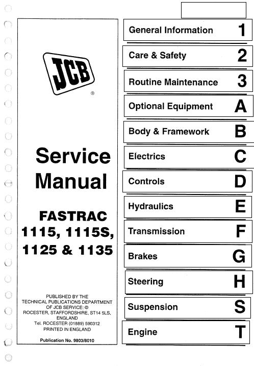 JCB 1115, 1115S, 1125, 1135 Fastrac Service Manual on
