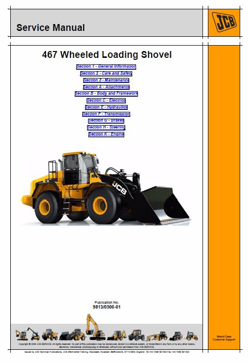 JCB 467 Wheeled Loader Shovel Service Manual