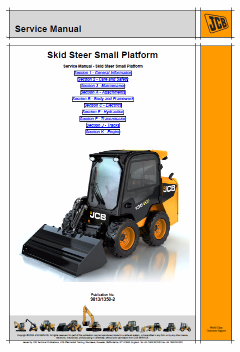 JCB 135, 155, 175, 190, 205, 150T, 190T, 205T Skidsteer Loader Manual