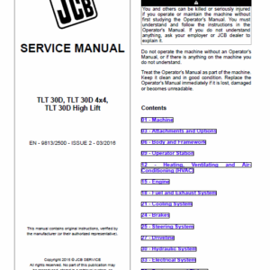 Jcb Tlt 30d, Tlt 30d 4×4, Tlt 30d High Lift Teletruck Service Manual