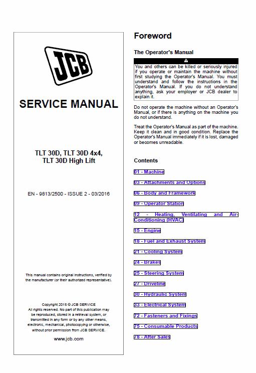 Jcb Tlt 30d, Tlt 30d 4×4, Tlt 30d High Lift Teletruck Service Manual