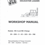 JCB 2D, 2DS, 3, 3C, 3CS, 3D, 700 Backhoe Loader Service Manual