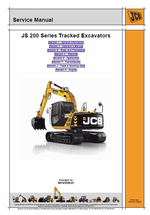 JCB JS200LC, JS220LC, JS230LC, JS210LC, JS370LC Excavator Service Manual