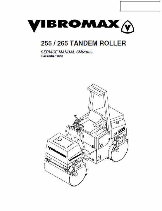 Jcb Vibromax 255, 265 Tandum Roller Service Manual