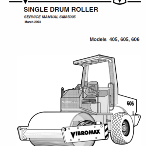 Jcb Vibromax 405, 605, 606 Single Drum Roller Service Manual