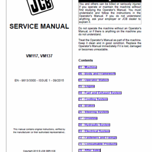 Jcb Vibromax Vm117, Vm137 Tier 3 Service Manual