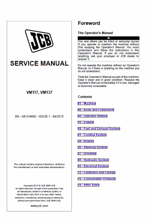 Jcb Vibromax Vm117, Vm137 Tier 2 Service Manual