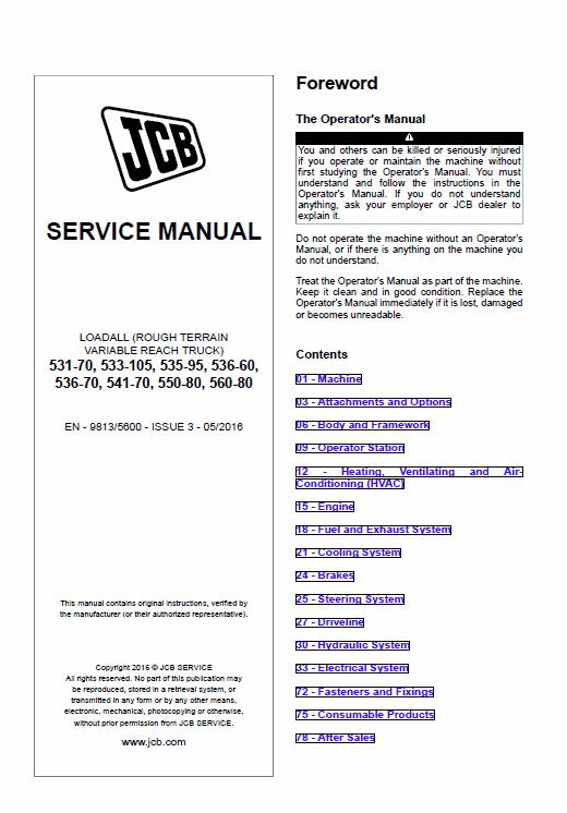 JCB 531-70, 533-105, 535-95, 536-60, 536-70, 541-70, 550-80, 560-80 on