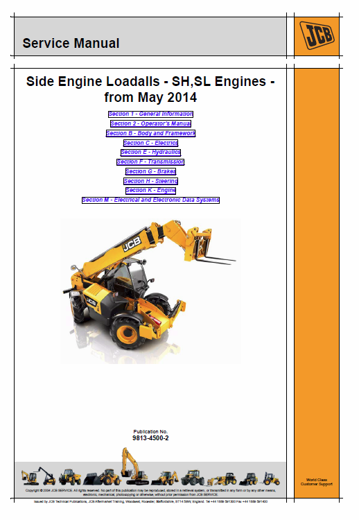 JCB 531-70, 535-95, 536-60, 541-70, 533-105, 536-70, 526-56, 550-80 Loadall Manual Service Manual