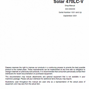 Doosan Daewoo Solar S470lc-v Excavator Service Manual