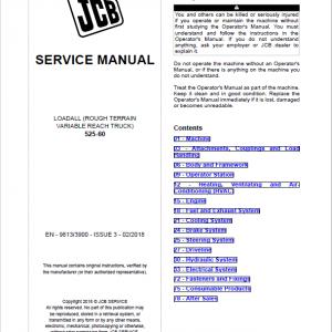 JCB 525-60 Loadall Telescopic Handlers Service Manual