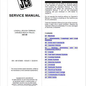 JCB 525-60 Loadall Telescopic Handlers Service Manual