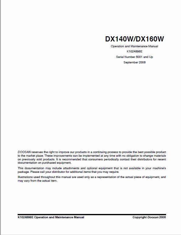 Doosan Daewoo Dx140w, Dx160w Excavator Service Manual