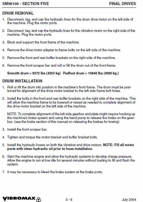Jcb Vibromax Vm106 Single Drum Roller Service Manual
