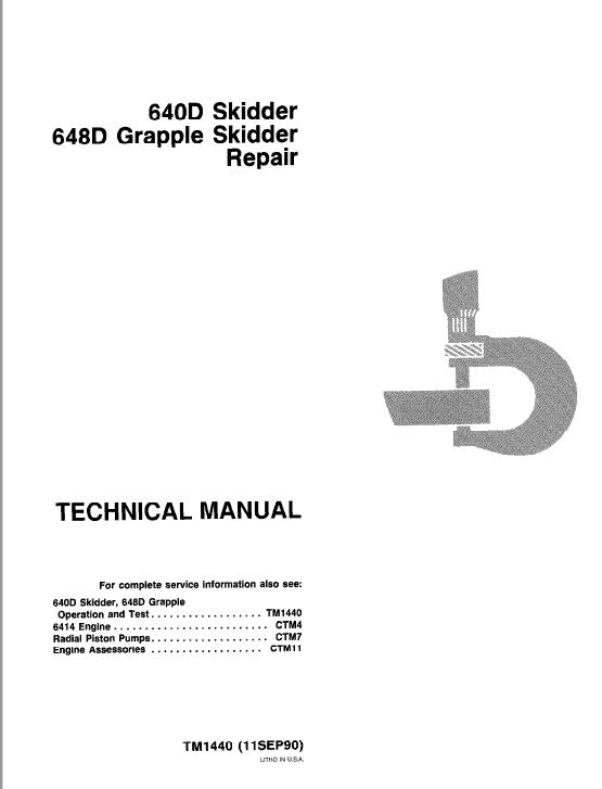 John Deere 640D, 648D Skidder Service Manual