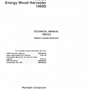 John Deere 1490d Harvester Service Manual Tm-2238