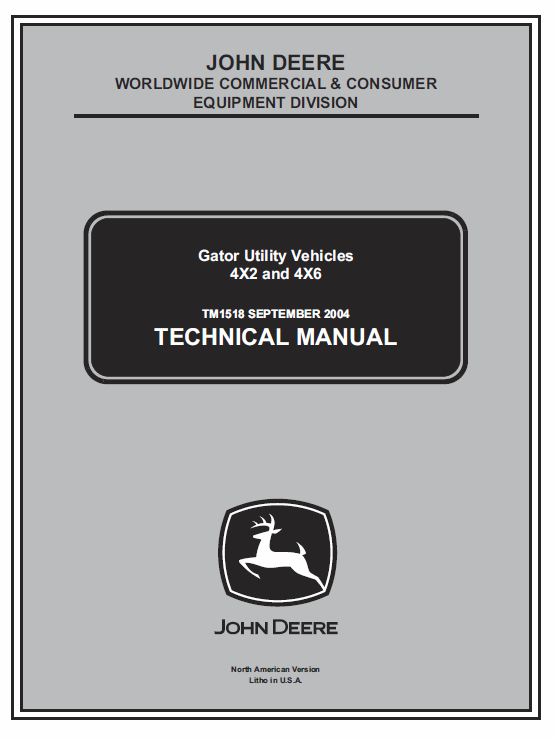 John Deere Gator 4×2 and 4×6 Service Manual