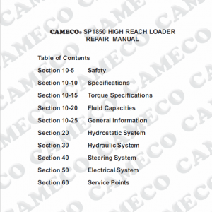 Cameco SP1850 Loader Repair Service Manual