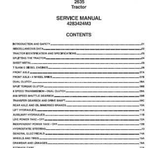 Massey Ferguson 2635 2wd/4wd Tractors Service Workshop Manual