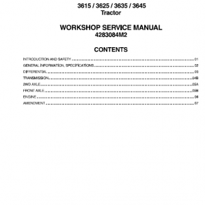 Massey Ferguson 3615, 3625, 3635, 3645 Tractors Service Workshop Manual
