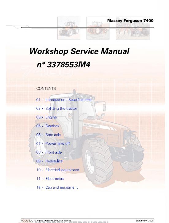 Massey Ferguson 7465, 7475, 7480 Tractor Service Manual