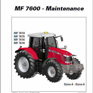 Massey Ferguson 7614, 7415, 7416, 7418 Tractor Operation and Maintenance Manual