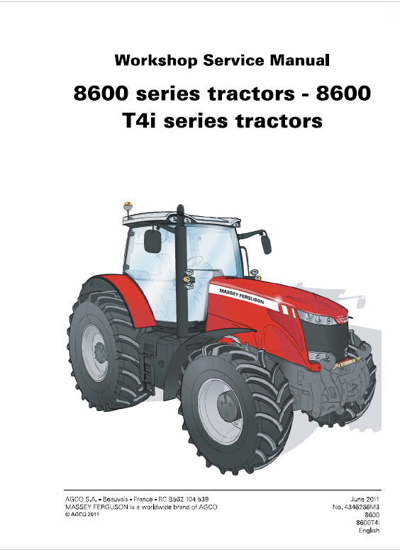 Massey Ferguson 8650, 8660, 8670, 8680, 8690 Tier 4i Tractor Service Manual