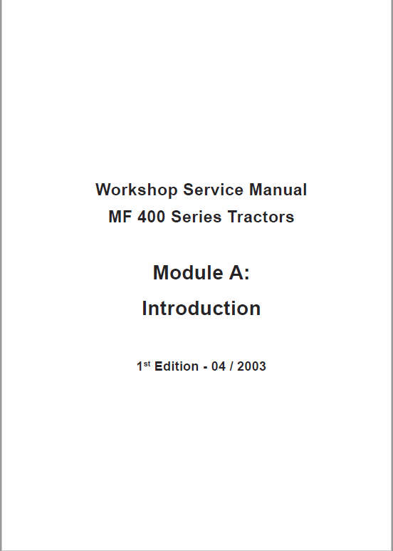 Massey Ferguson Mf 415, 425, 435, 440 Tractor Service Manual